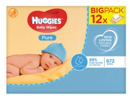 Huggies Pure Baby Wipes 12*56 Bulk Pack £7 at Asda