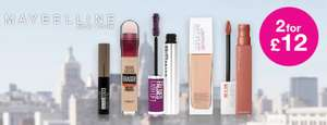 2 for £12 Maybelline @ Superdrug + £3 delivery / free for Beautycard members