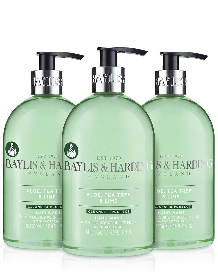Baylis & Harding Aloe/Tea Tree/Lime Anti Bacterial Hand Wash, 500 ml, Pack of 3 £6 (Prime) / £10.49 (non Prime) at Amazon