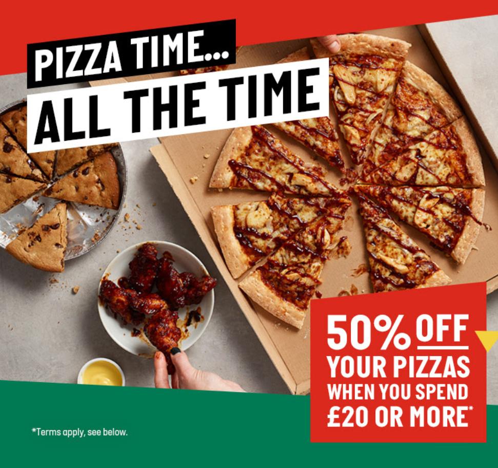 50% off pizzas (minimum £20 spend) with code @ Papa John's