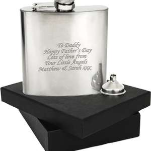 Engraved Personalised Stainless Steel 6oz Hip Flask - Funnel and Gift Box £5.89 (plus buy 3 get 1 free) @ 1stclassgifts eBay