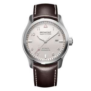 Bremont Solo Silver Dial & Brown Leather Strap 43mm Watch £1797 @ Burrells