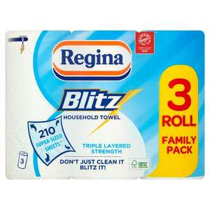 Regina Blitz All Purpose Kitchen Towel Family Pack 3 rolls for £3 - 210 super-sized sheets at Morrisons, Rochdale