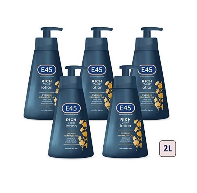 E45 Rich 24 Hours Moisturising Lotion 400 ml, Pack of 5 (2L) - £20.19 @ Amazon