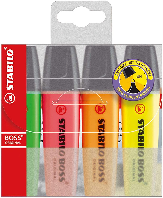 STABILO BOSS ORIGINAL Wallet of 4 Assorted Colour Highlighters £1.33 (+ £4.49 Non Prime) @ Amazon