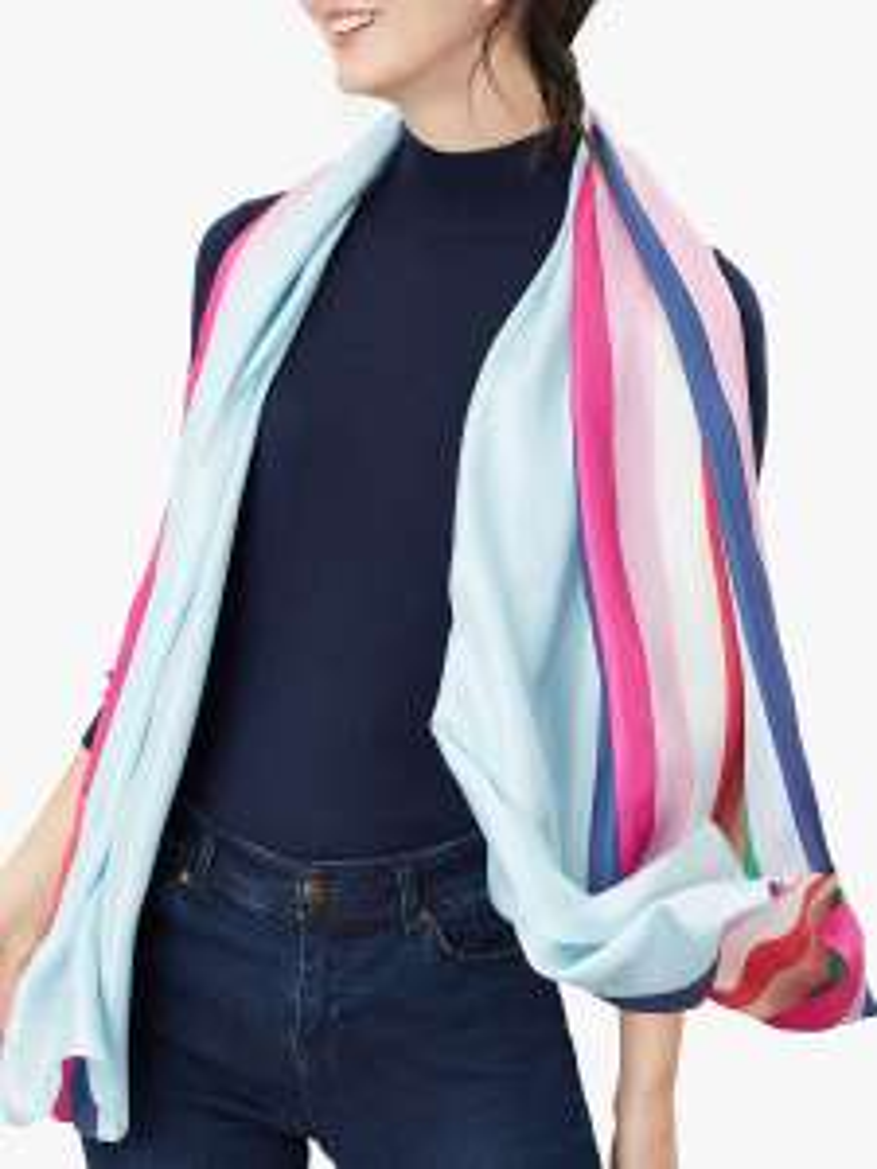 Joules Hampton Silk Stripe Scarf, Multi 100% Silk at John Lewis & Parters for £14.98 (£3 C&C)