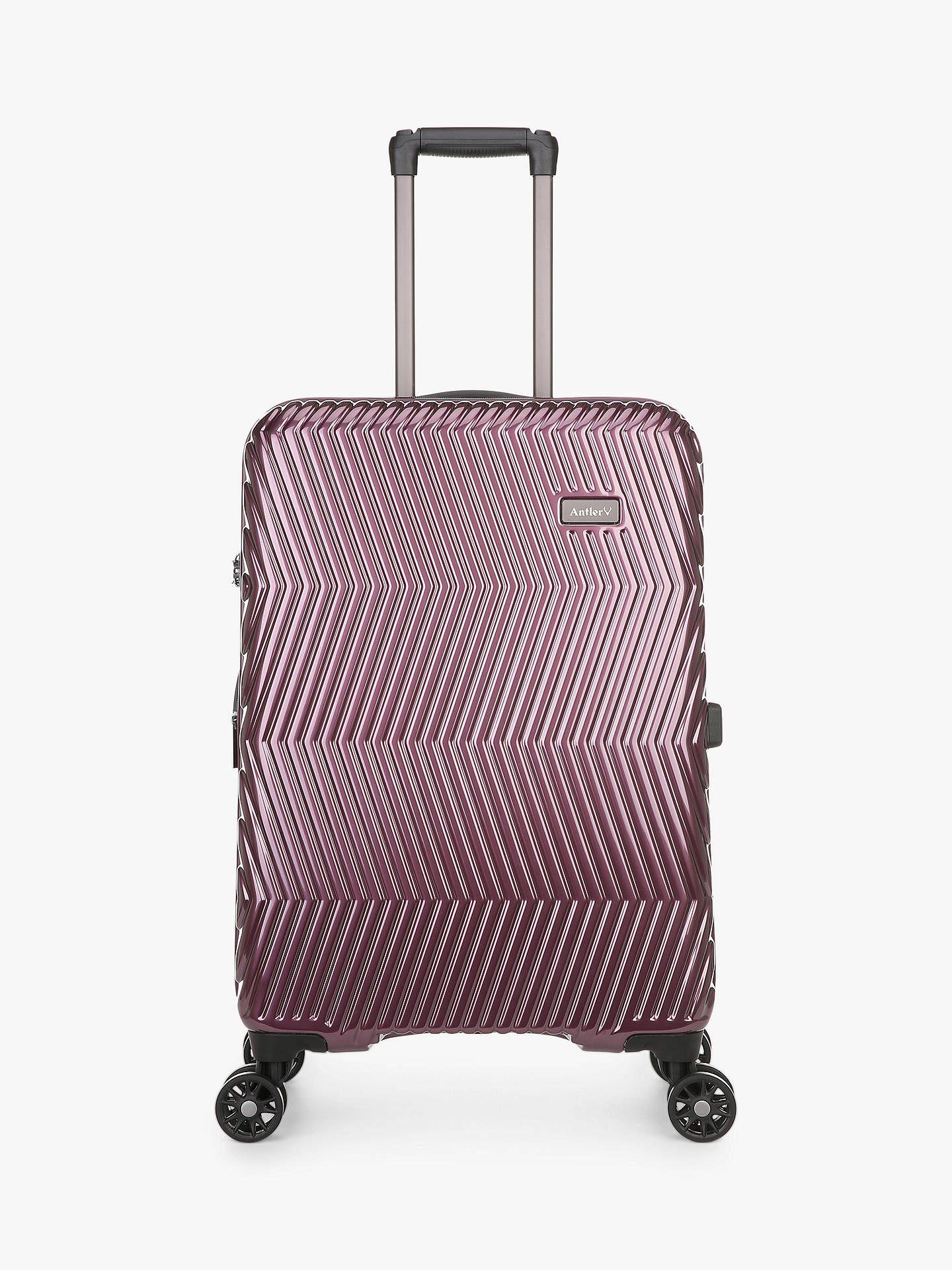 Antler Viva 4-Wheel 68cm Medium Suitcase, Aubergine at John Lewis & Partners for £65.50