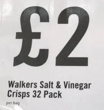 WALKERS Grab bag Crisps salt & vinegar 32 packets 50 grams size £2 at Food Warehouse Southampton west quay