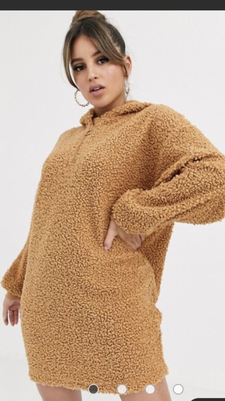 ASOS DESIGN lounge borg oversized hooded sweat dress £18.40 delivered at ASOS