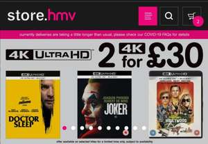 HMV 2 For £30 4K UHD - New titles added incl Le Mans '66, Terminator Dark Fate, Frozen 2, Maleficent 2. Once upon a time in Hollywood