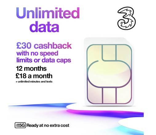 Three 12m x £18 unlimited data/mins/texts + £30 cashback + £1 sim @ Argos