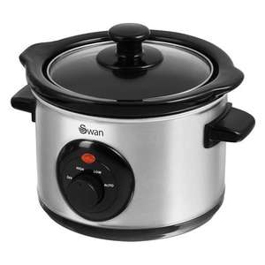 Swan Stainless Steel Slow Cooker 1.5 Litre - Silver £14.99 includes 32 page recipe book With Free Delivery From Swan Products Ltd/OnBuy