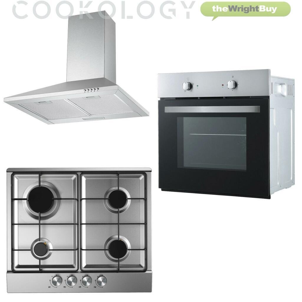 Cookology Fan Forced Oven, Stainless Steel Gas Hob & 60cm Chimney Hood Pack £254.99 Delivered @ thewrightbuyltd / eBay
