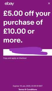 Selected accounts, £5 off £10 spend eBay