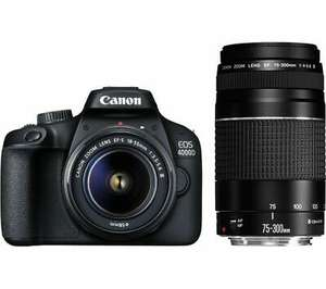 CANON EOS 4000D DSLR Camera with Two Lens Kit (EF-S 18-55 mm f/3.5-5.6 III + EF 75-300 mm f/4-5.6), £341.10 at Currys/ebay with code