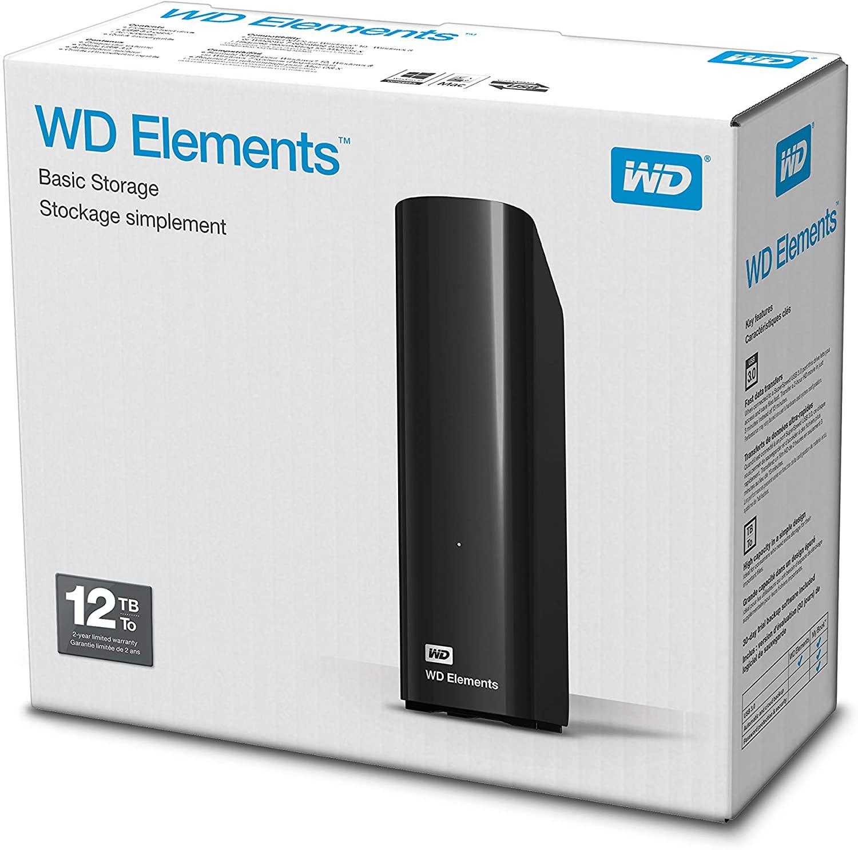 WD 12TB Elements Desktop External Hard Drive - USB 3.0 - £185.99 @ Amazon