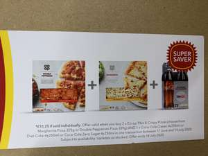 2 pizzas and 4 pack glass bottle coke meal deal £5 at Co-operative