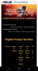 Asus B550 + ryzen CPU cashback - up to £100 at multiple retailers