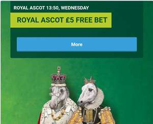 Paddy Power £5 free bet Royal Ascot - Wednesday 17th June 2020