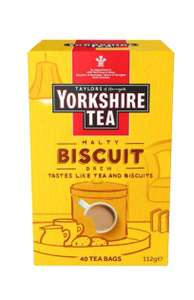Yorkshire Tea Biscuit Brew Tea Bags, Pack of 4 (total of 160 tea bags) £8 (prime) / + £4.49 non-prime @ Amazon
