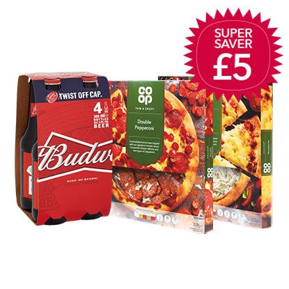 2 Thin Crispy Pizza + 4 Pack (Budweiser or Coke Bottle) - £5 @ Nisa