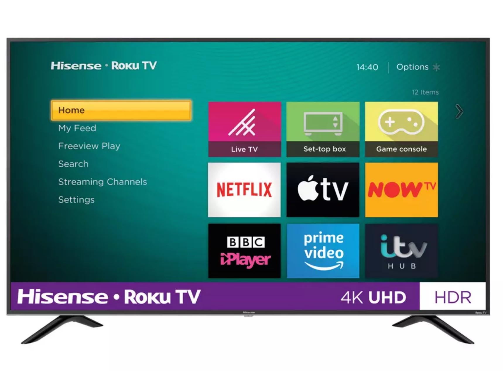 "Hisense Roku 4K Smart TV R43B7120UK 43"" - £245 / R50B7120UK 50"" - £299 / R55B7120UK 55"" £329 / R65B7120UK 65"" £449 @ Argos (click & collect)"