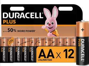 Duracell Plus AA Alkaline Batteries, 1.5 V, LR06 MX1500, Pack of 12 - £5.99 Prime / £10.48 non Prime @ Amazon