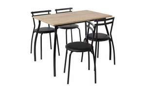 Argos Home Leon Wood Effect Dining Table & 4 Black Chairs £50 (Round or Rectangle options) @ Argos (Click & Collect)