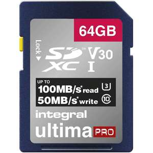Integral 64GB UltimaPRO V30 Premium SD Card (SDXC) UHS-I U3 - 100MB/s £10.99 free postage and 5 years warranty - £10.99 delivered @ MyMemory