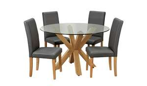 Argos Home Alden Glass Dining Table & 4 Charcoal Chairs £240.05 delivered @ Argos