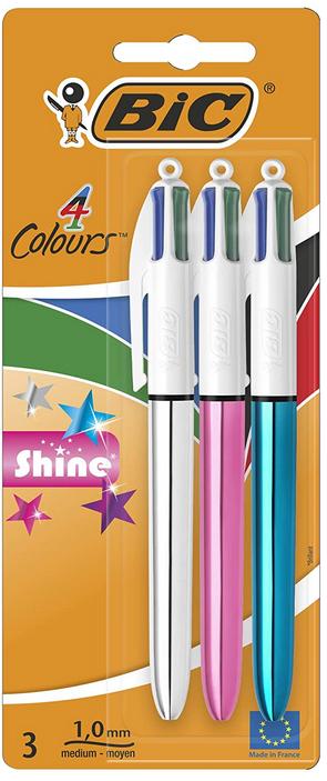 BIC 4 Colours Shine Ballpoint Pens Medium Point 1mm–Assorted Metallic, 3 Pack - £2.50 Prime / £9.99 Non Prime @ Amazon UK