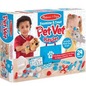Melissa & Doug 24pc Examine And Treat Pet Play Set - includes a Dog & Cat Plush £17.99 delivered @OnBuy / Euro Costumes & Party Goods