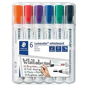 STAEDTLER Lumocolour Whiteboard Marker with Bullet Tip, Multicolour, 6 Pack - £4.68 @ Amazon(+£4.49 Non Prime)