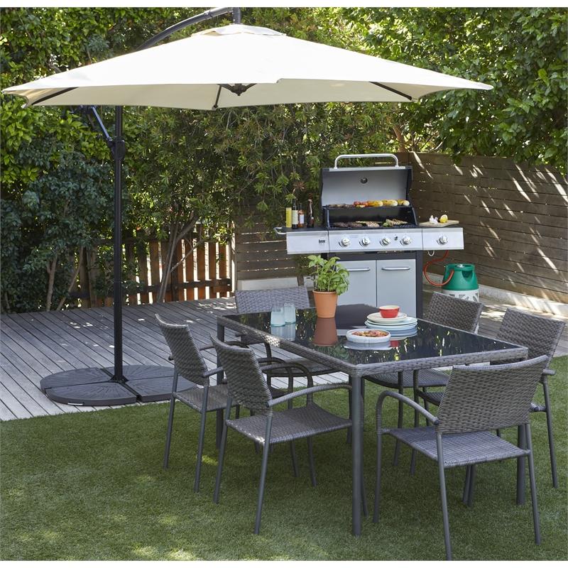 Lindfield Rattan 6 Seater Rectangular Garden Furniture Set in Grey - £200 C&C @ Homebase