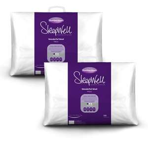Slumberdown Sleepwell Wonderful Wool Pillow - Buy One Get One Free - £10.99 + Free Delivery @ SleepSeeker