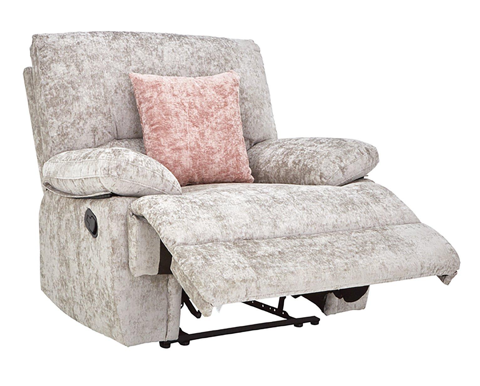 Carmilla Fabric Manual Recliner Chair - Silver - £181.95 Delivered @ Argos