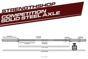 Solid Steel Competition Grade Axle - 50mm Thick, 36kg - Preorder £149.99 @ Strength Shop