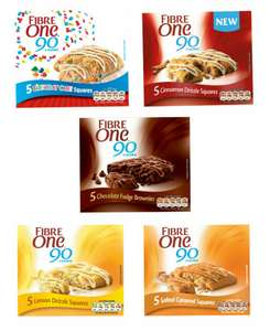 Fibre One 90 5 x 24g choice of Birthday Cake, Cinnamon Drizzle, Salted Caramel, Lemon Drizzle, Chocolate Fudge Brownie - £1.25 @ Asda