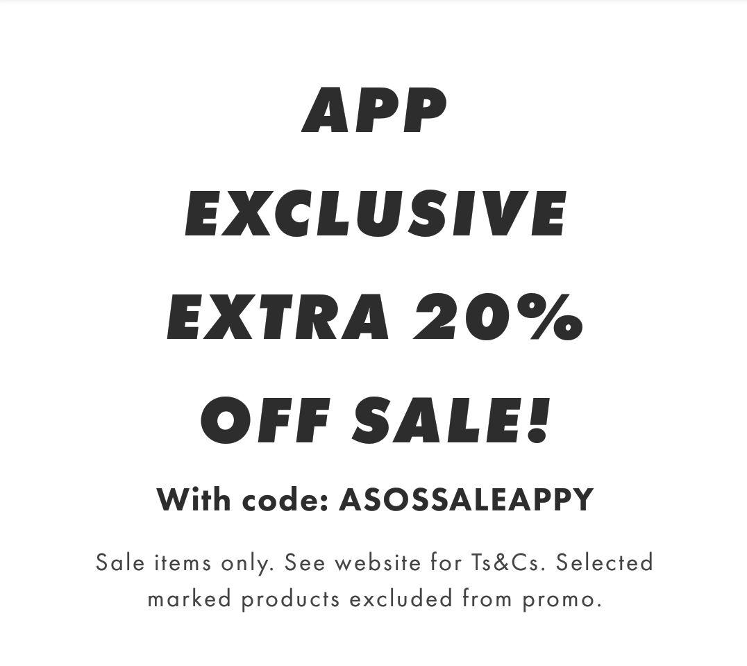 ASOS extra 20% off sale via the app