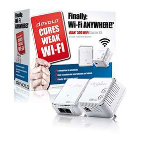 devolo dLAN 500 Wi-Fi Powerline Starter Kit (2 x PLC Homeplug Adapter, 1 x LAN Port, Wi-Fi Signal Booster) @ Amazon - £34.99
