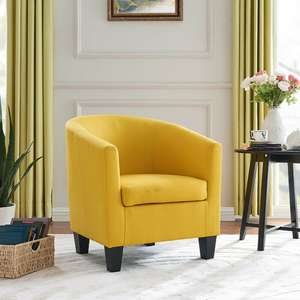 Unbeatable Canberra modern tubchair in mustard or teal fabric for £73.59 delivered using code @ eBay / unbeatable09