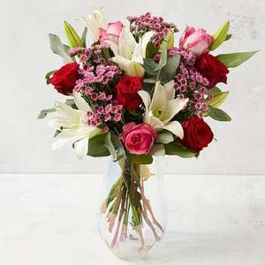 The Best Pink and Red or White Roses and Lily Bouquet = £10 delivered with code @ Morrisons