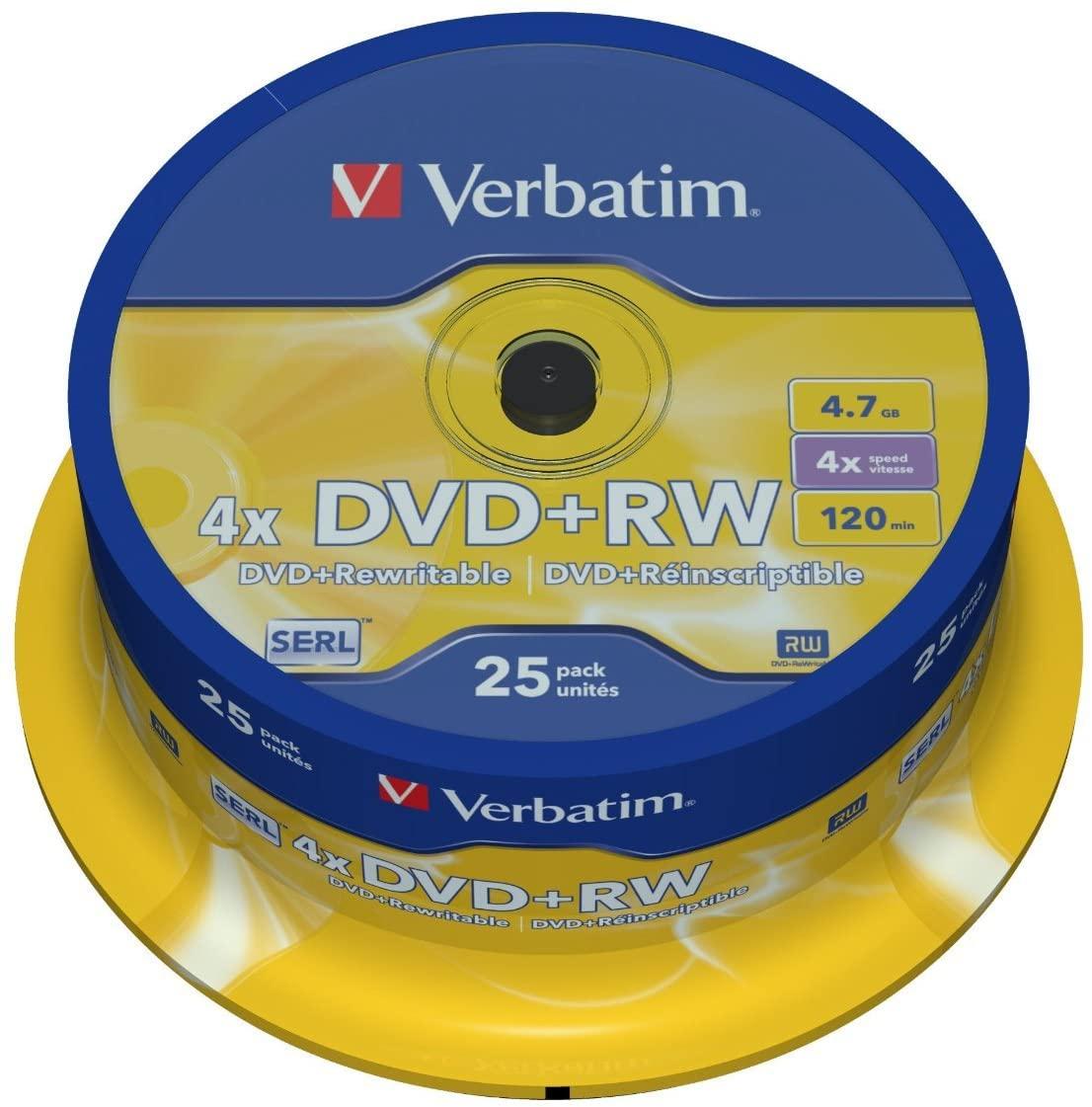 Verbatim 4x Speed DVD+RW Blank DVDs - 25 pack for £6.27 or Verbatim 12x Speed CD-RW Blank CDs 10 pack for £1.97 @ Currys PC World