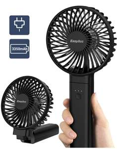 2 x EasyAcc Handheld Portable Electric USB Fans with 3350/2600 mAh for £16.78 with code stack Sold by EasyAcc Store and Fulfilled by Amazon.