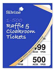 Silvine Cloakroom/ Raffle Tickets, Numbered 1-500 with Security Numbering 99p (Prime) + £4.49 (non Prime) at Amazon