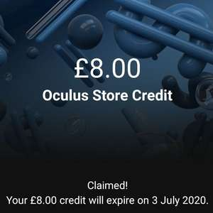 £8 oculus credit on the oculus app on android (account specific) at Oculus store