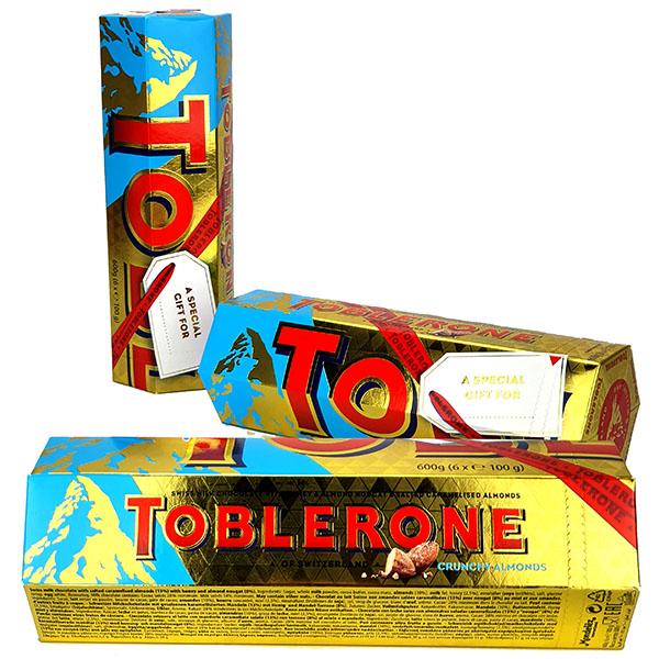 3x Toblerone Crunchy Almonds Milk Chocolate 600G Gift Packs (Total 18 Bars) - £18 delivered @ Yankee Bundles