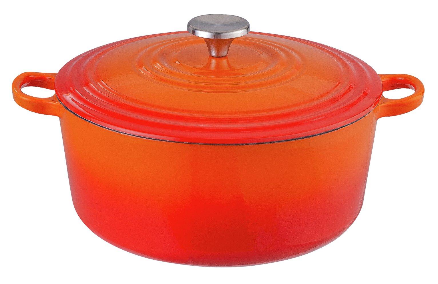 Argos Home 5.3 Litre Cast Iron Casserole Dish - Orange - £29.99 + Free Click and Collect @ Argos