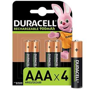 Duracell rechargeable AAA 900mAh pack of 4 batteries - £4.97 (+£4.49 non prime) @ Amazon