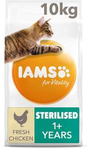IAMS 10KG Vitality 1+ Dry Cat Food Chicken - £27.99 (£19.59 with 25% off with Subscribe + Save) @ Amazon